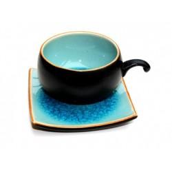Tasse ronde et soucoupe carrée céramique aspect craquelé turquoise