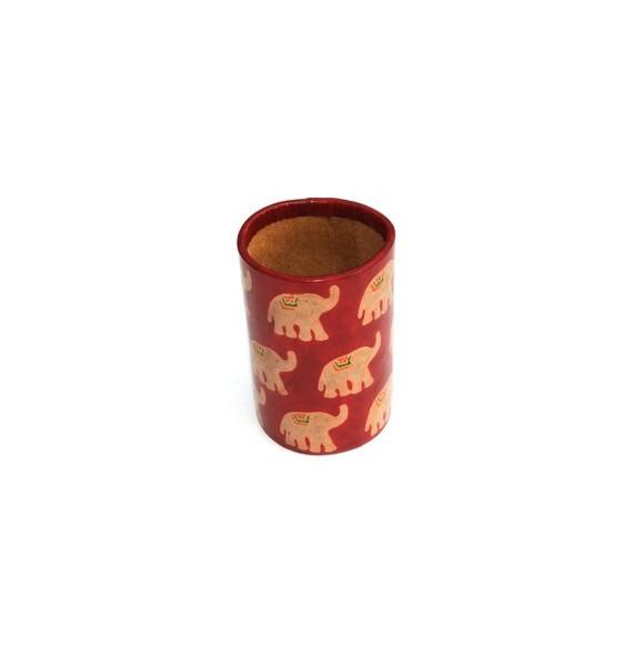 Porte crayons en cuir rouge éléphant