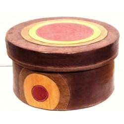 Boîte ronde en cuir 30 cm
