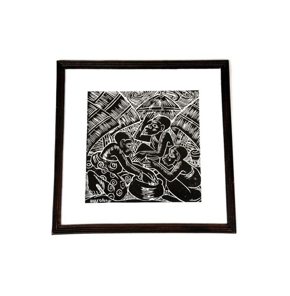 Imprimé noir et blanc Le Village 46 x 46 cm