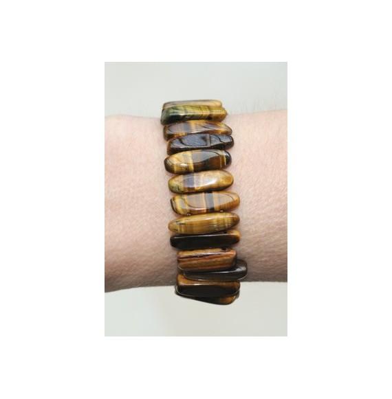 Bracelet large élastique oeil de tigre