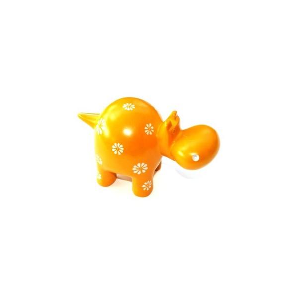 Hippopotame 15 cm jaune fleurs en saponite