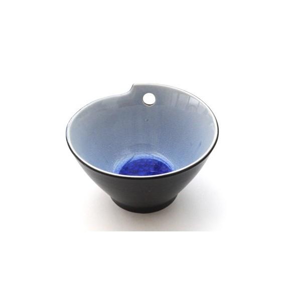 Bol à nouilles céramique aspect craquelé bleu