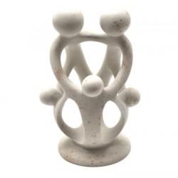 Sculpture famille avec 3 enfants 16 cm en saponite