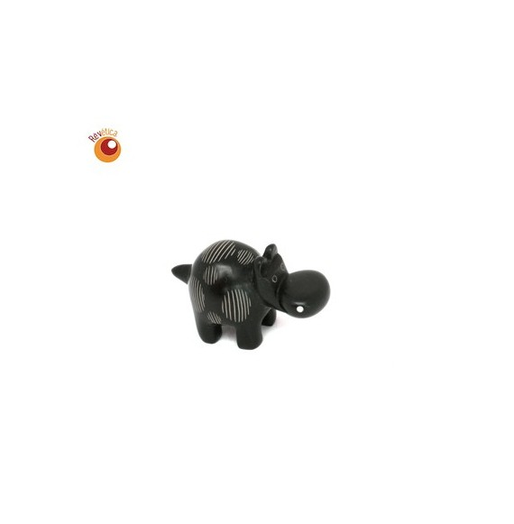 Hippopotame® 4 cm marron ronds rayés en saponite