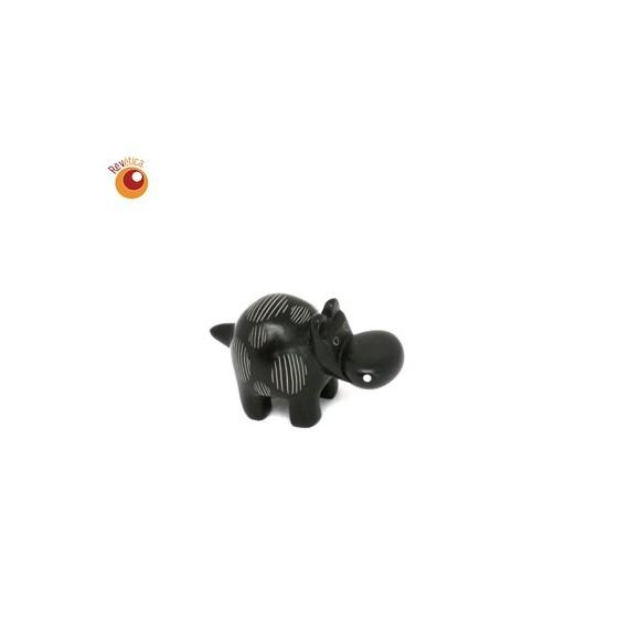 Hippopotame 4 cm marron ronds rayés en saponite