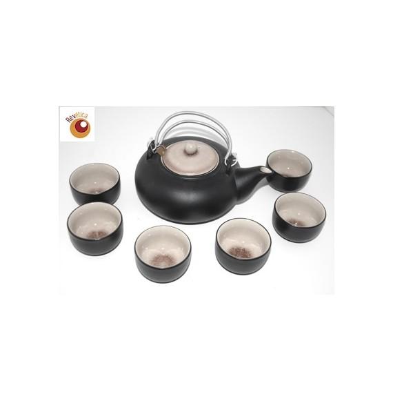 Service à thé céramique aspect craquelé caramel