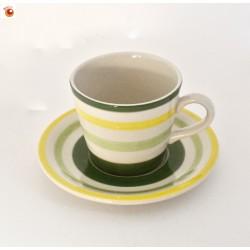 Tasse et sous tasse porcelaine rayée