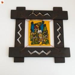Batik encadré étal marché fond jaune