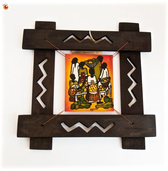 Batik encadré étal marché fond orange