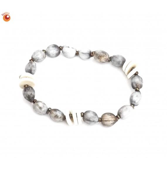 Bracelet élastique graines zouloues et coquilles oeuf autruche