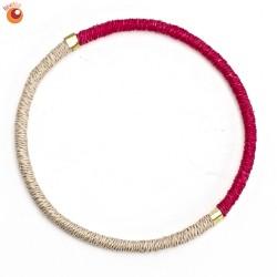 Bracelet sisal fushia et sable