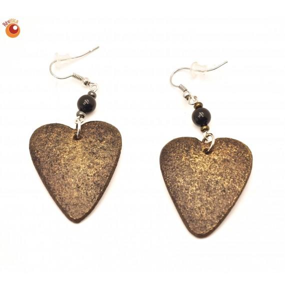 Boucles d'oreilles coeur bronze en coquille