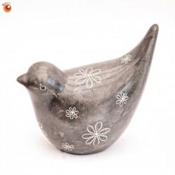 Oiseau 7 cm gris en saponite