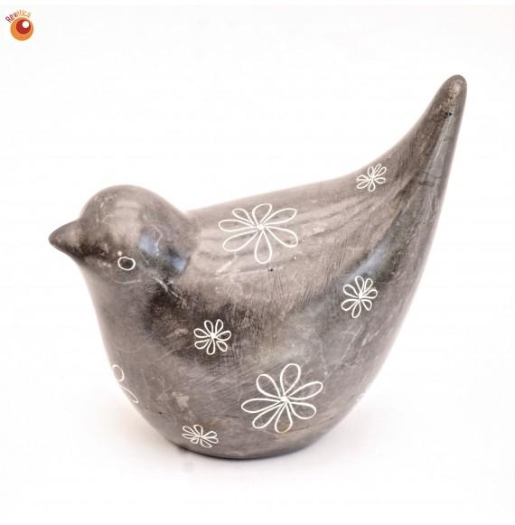 Oiseau® 7 cm gris en saponite