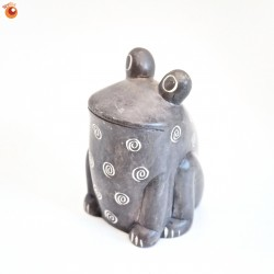 Grenouille assise 6 cm grise en saponite