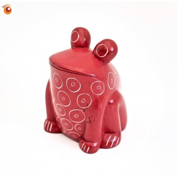 Grenouille assise 6 cm rouge en saponite