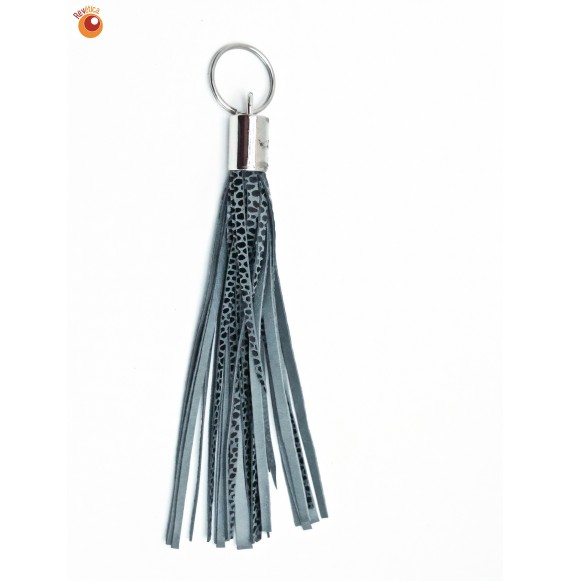 Porte clés cuir gris