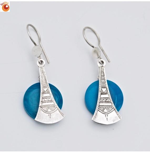 Boucles d'oreilles argent 925°/oo tagua turquoise - 4,0 g