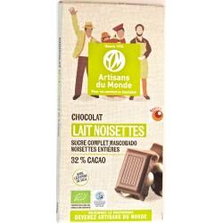 Chocolat bio lait noisettes 100 g