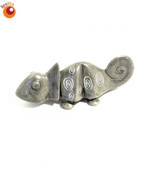 Caméléon 4 cm gris en saponite