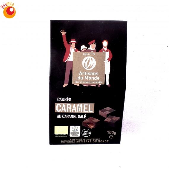 Carrés noir bio fourrés caramel salé 100 g