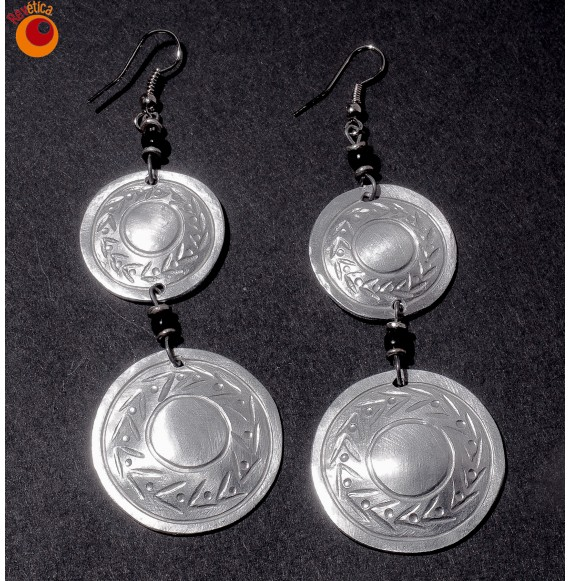 Boucles d'oreilles aluminium 2 disques