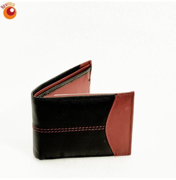 Portefeuille cuir noir et rouge