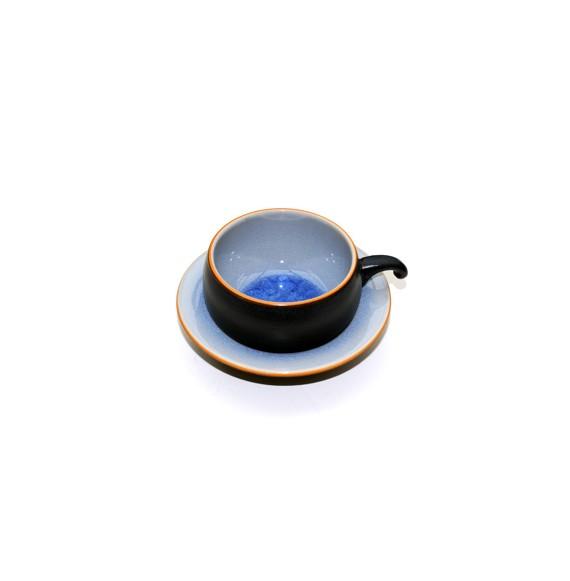 Tasse et soucoupe rondes céramique aspect craquelé bleu