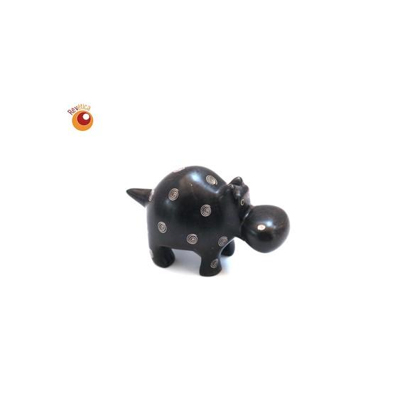 Hippopotame® 10 cm noir en saponite
