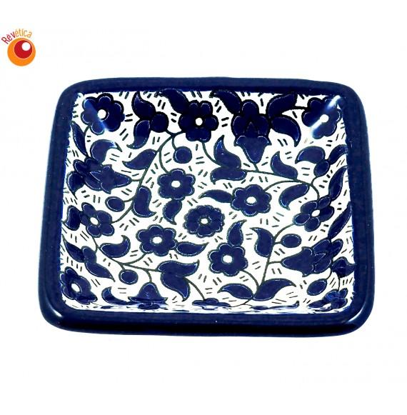 Coupelle carrée céramique bleue