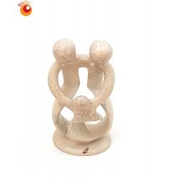 Sculpture famille avec 1 enfant 18 cm en saponite