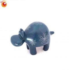 Hippopotame 6 cm bleu en saponite