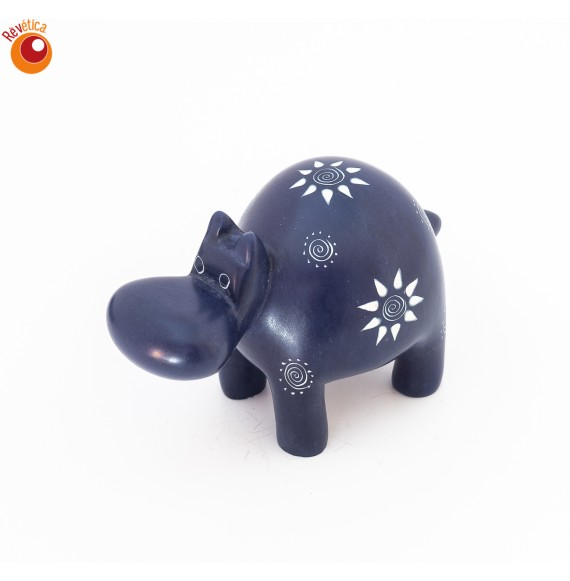 Hippopotame 10 cm bleu en saponite