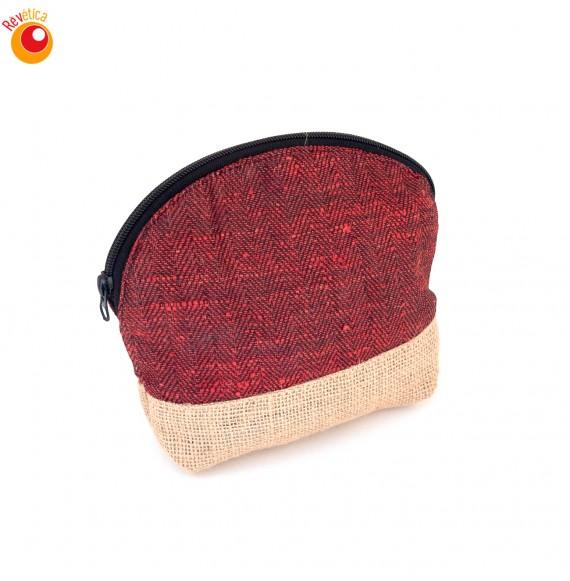Pochette coton rouge et jute