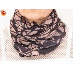 Echarpe tube laine rose noire