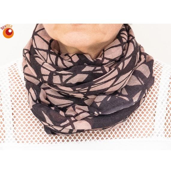 Echarpe tube laine rose noir