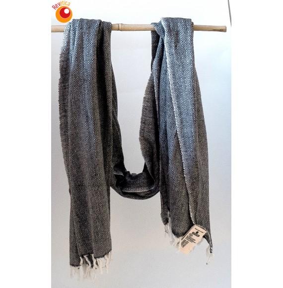 Echarpe laine écru gris foncé