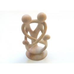 Sculpture famille avec 2 enfants 16 cm en saponite