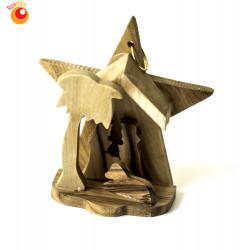 Crèche étoile bois olivier