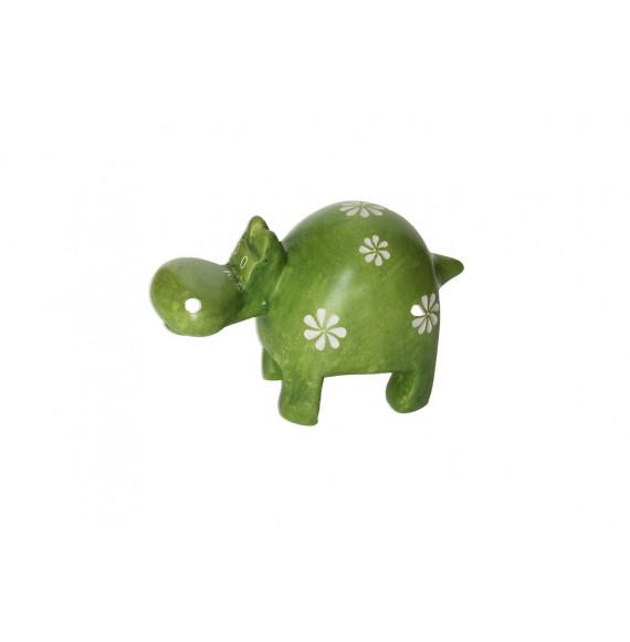 Hippopotame 10 cm vert fleurs en saponite