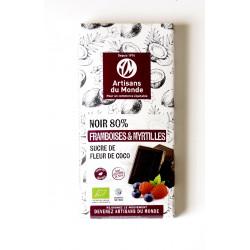 Chocolat noir 80% framboises & myrtilles bio 100 g