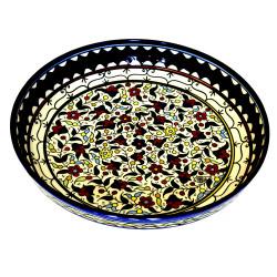 Plat rond creux céramique fleurs multicolores