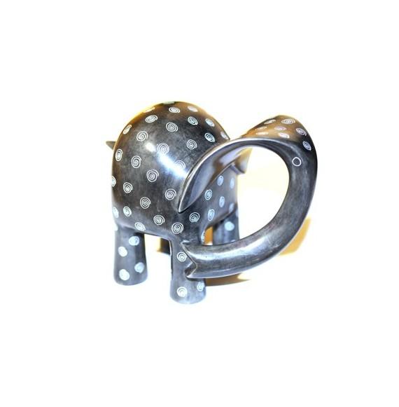 Eléphant® 15 cm gris spirales en saponite
