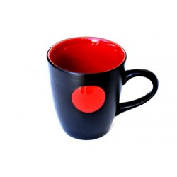 Mug céramique noire mate et rouge